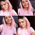 Ombre Pink Synthetic Lace Front Wig Short Bob Straight Wigs 2Tone Black/Pink Ombre Glueless Lace Front Wigs Heat Resistant Fiber
