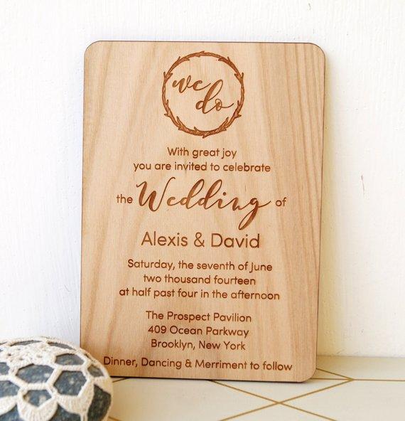 wooden wedding invitation rustic wedding invites real wood wedding