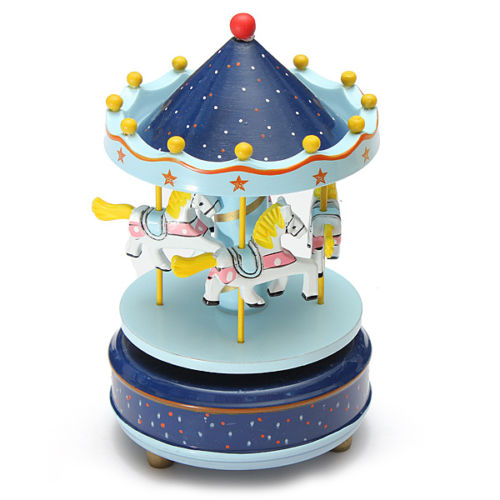 Best Musical carousel horse wooden carousel music box toy child baby Deep Blue game image