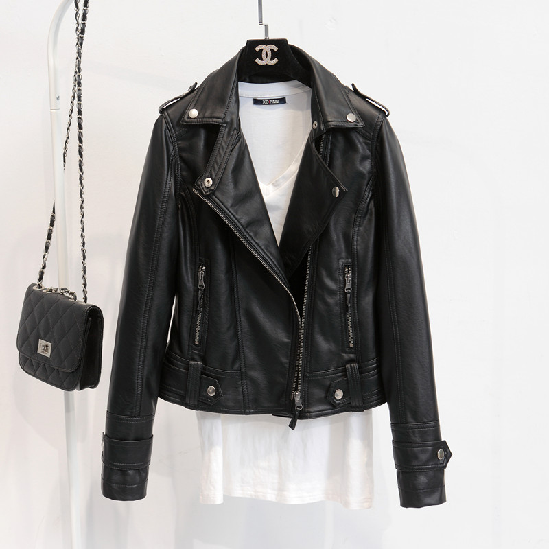 Spring Autumn Leather outerwear Women s Rivet Zipper Motorcycle Faux Leather slim Coat Female Paragraph Lapel PU short Jacket
