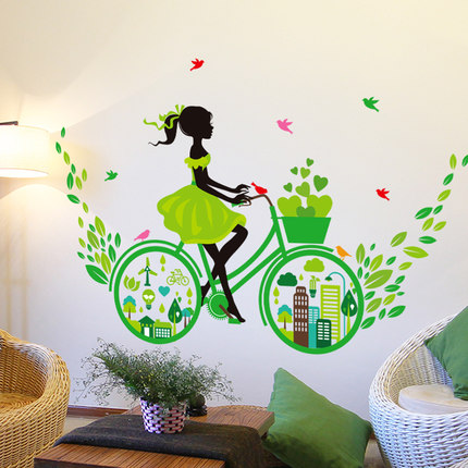 bicycle blue flower girl removable vinyl wall sticker decal mural