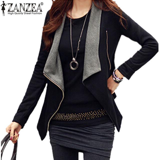 ZANZEA 2016 Mujeres Del Otoño Del Resorte Delgado Abrigos Chaquetas Casual Turn Abajo de la Manga Larga Cremallera Lateral Sexy Outwear Plus Size escudo
