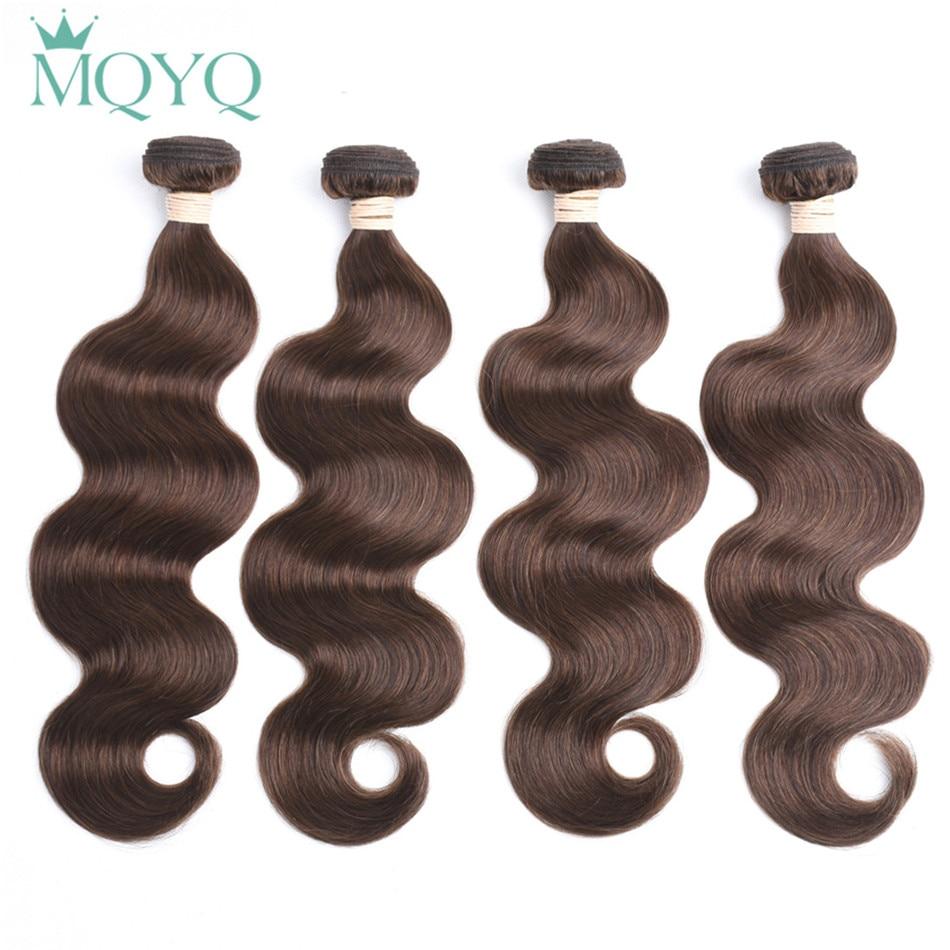 MQYQ Pre-Colored Human Hair Weaving Body Wave Weave Bundles #4 Light Brown 4pcs Bundles Remy Colored Human Hair Weaving