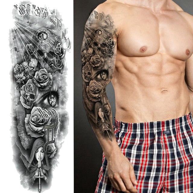 Larga Duración Negro Pray Nun Tatuaje Temporal Pegatinas Hombres