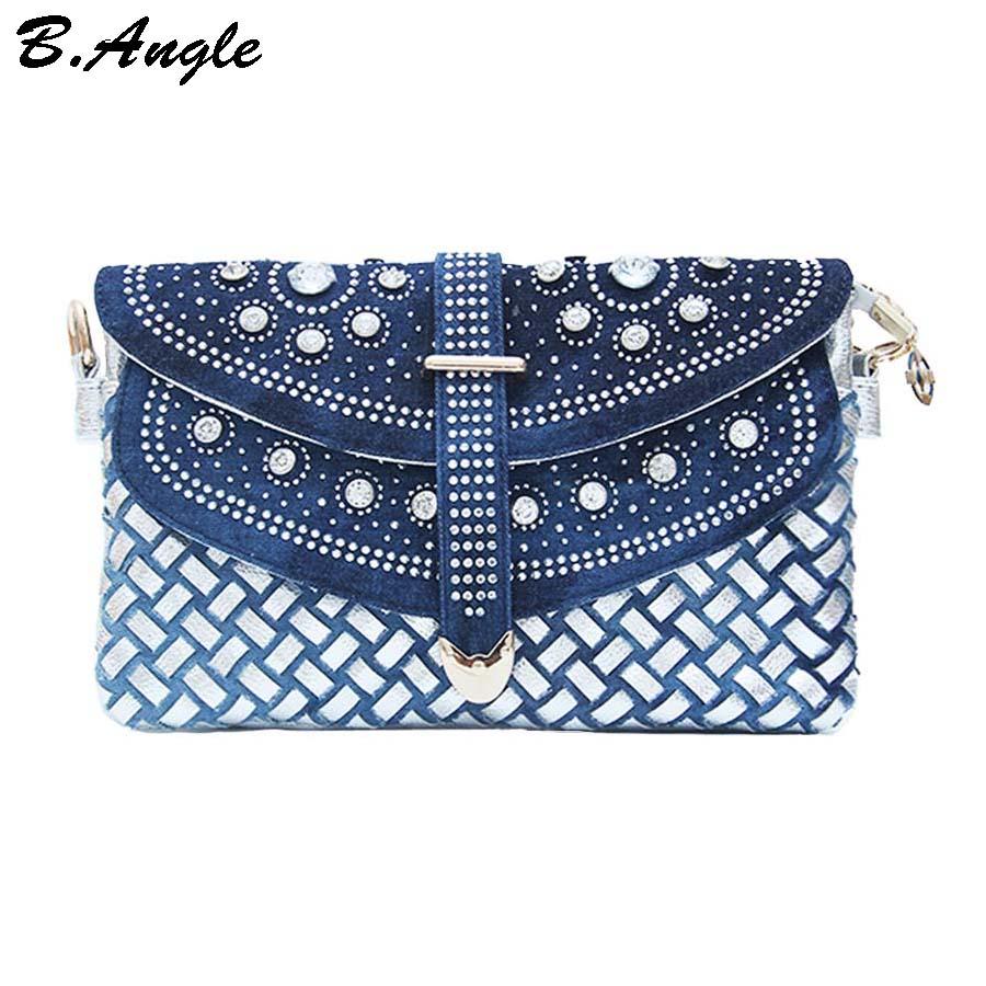 High quality diamonds denim flap bag women bag messenger bag shoulder bag tote denim fashion dollar price