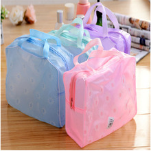 Fashion Makeup Bag Cosmetic Pouch Travel Wash Bag PVC Waterproof Floral Clear Bag Wash Bath Bag