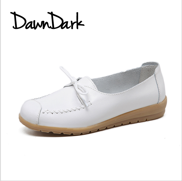 Women Casual Shoes Flats Slip on Mother Ladies Split Leather Shoes Spring Summer Women Fashion Boat Sneakers