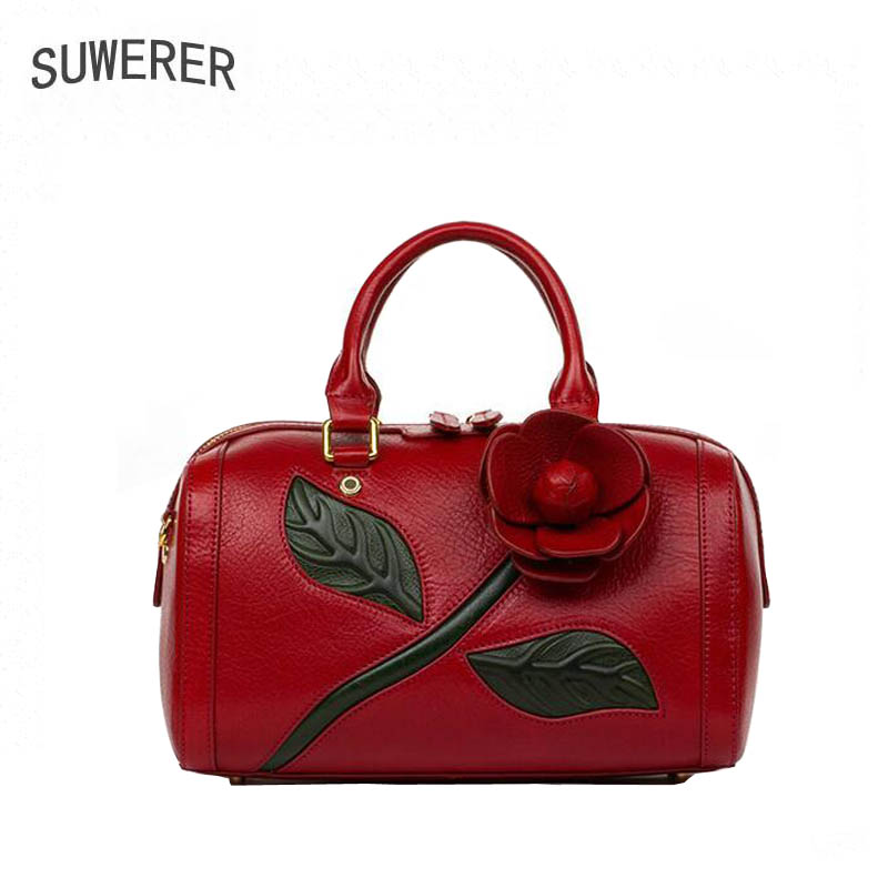 Genaine leather bag free delivery women bag Fashion stereoscopic flower shoulder Messenger Bag Luxury retro handbag Boston bag genuine leather bag free delivery women bag ethnic retro embossed handbag originality shoulder messenger bag