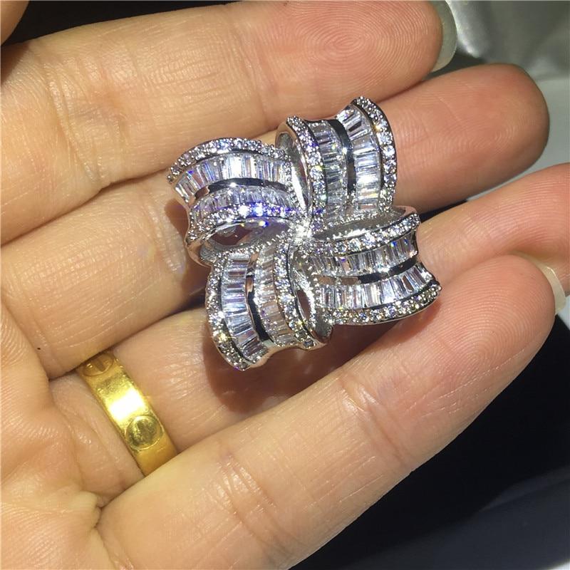 Bijoux de grande fleur élégant 925 bague en argent Sterling AAAAA Zircon Cz bagues de mariage de fiançailles pour les femmes cadeau de doigt de mariée - 3