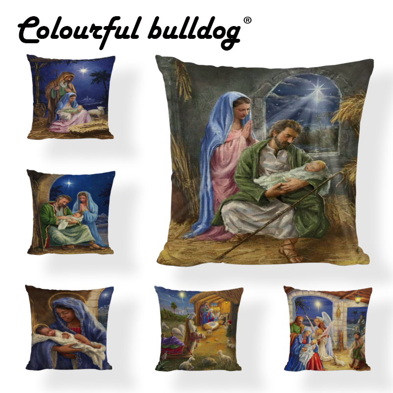 Wholesale Cushion Cover Retro Pattern Mary Jesus The Girl With The Pearl Throw Pillow Case for Office Home Couch Decoration