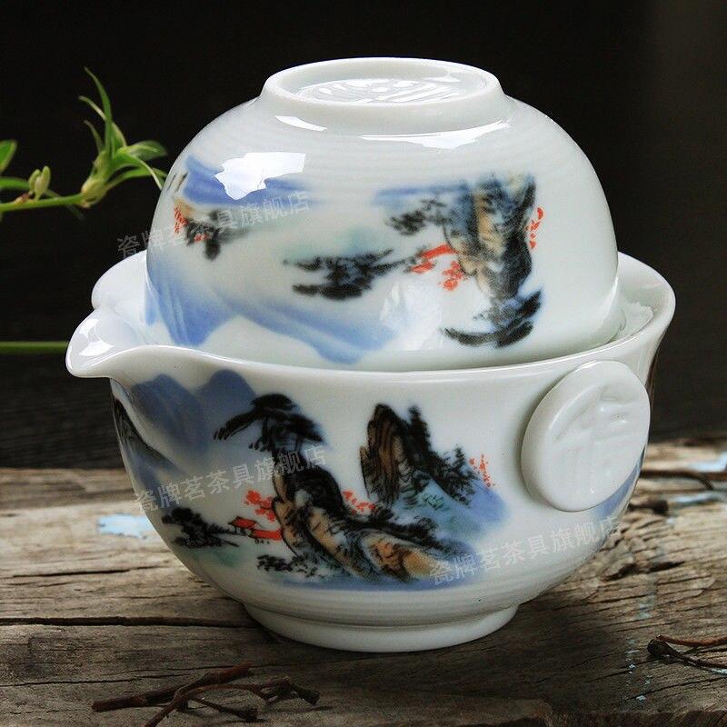 [GRANDNESS] Tea Set Include 1 Pot 1 Cup, High Quality Elegant Gaiwan,Beautiful and Easy Teapot Kettle Tea Pot