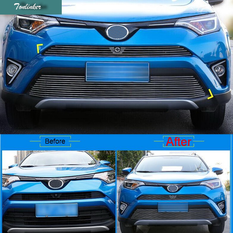 Tonlinker Cover Case Stickers for TOYOTA RAV4 2016 part accessories 2 PCS Car chromium Styling aluminum Racing Grille strip 1 pcs diy car styling new pu leather free punch with cup holder central armrest cover case for ford 2013 fiesta part accessories