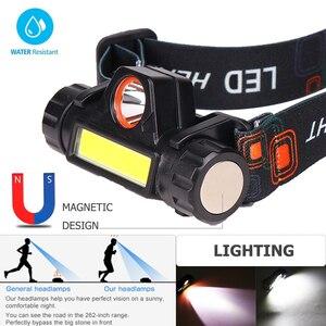 Image 4 - Портативный светодиодный налобный фонарь T6 + COB высокой мощности, перезаряжаемый через USB, водонепроницаемый Головной фонарь