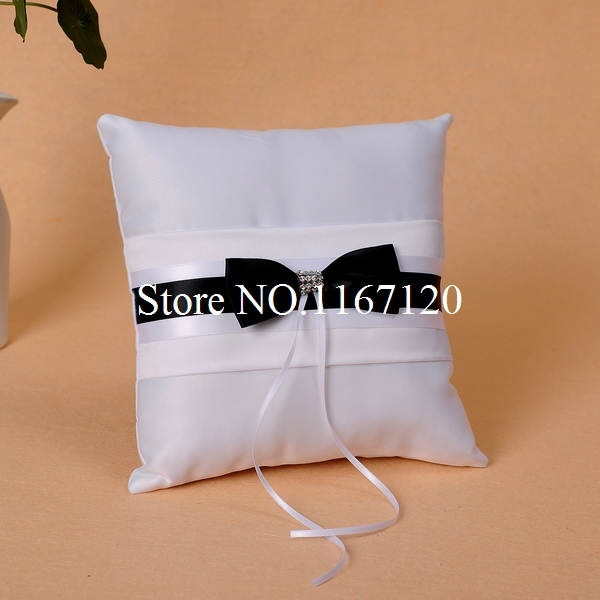 White and Black Bowknot Satin Wedding Crystal Ring Pillow Wedding Diy Favors Cushion(P06)