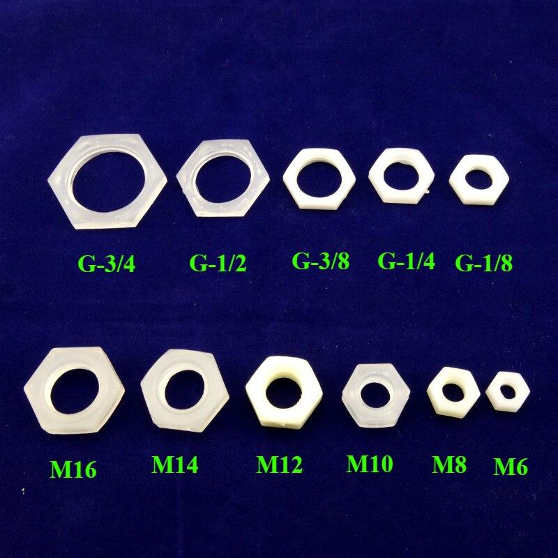 Plastic PE Pipe Fitting Lock Nut M6 M8 ,M10 M12 M14 M16 G1/4 G3/8 G1/2 G3/4 G1/8