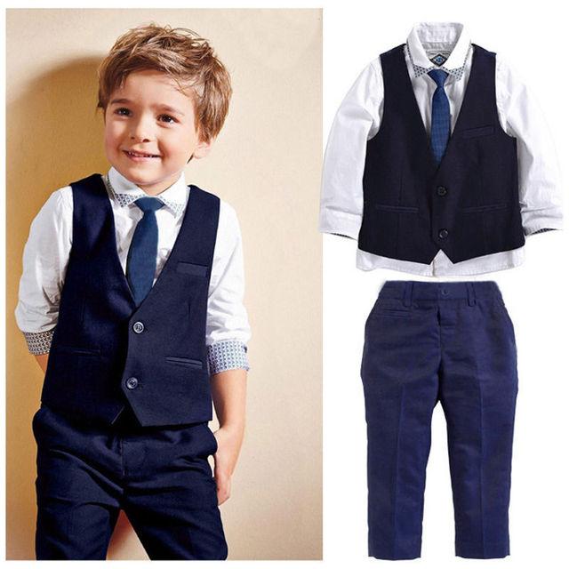 3 pcs definir conjuntos de roupas de outono 2016 das crianças de lazer roupas para casamentos formais roupas de bebê menino terno colete cavalheiro terno