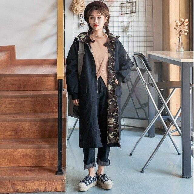 Mujeres Grueso Trinchera Abrigos de Invierno 2017 de La Vendimia de Manga Larga Con Capucha Outwear Flojo Ocasional Femenino Camuflaje Empalme Largo Prendas de Vestir Exteriores Superior