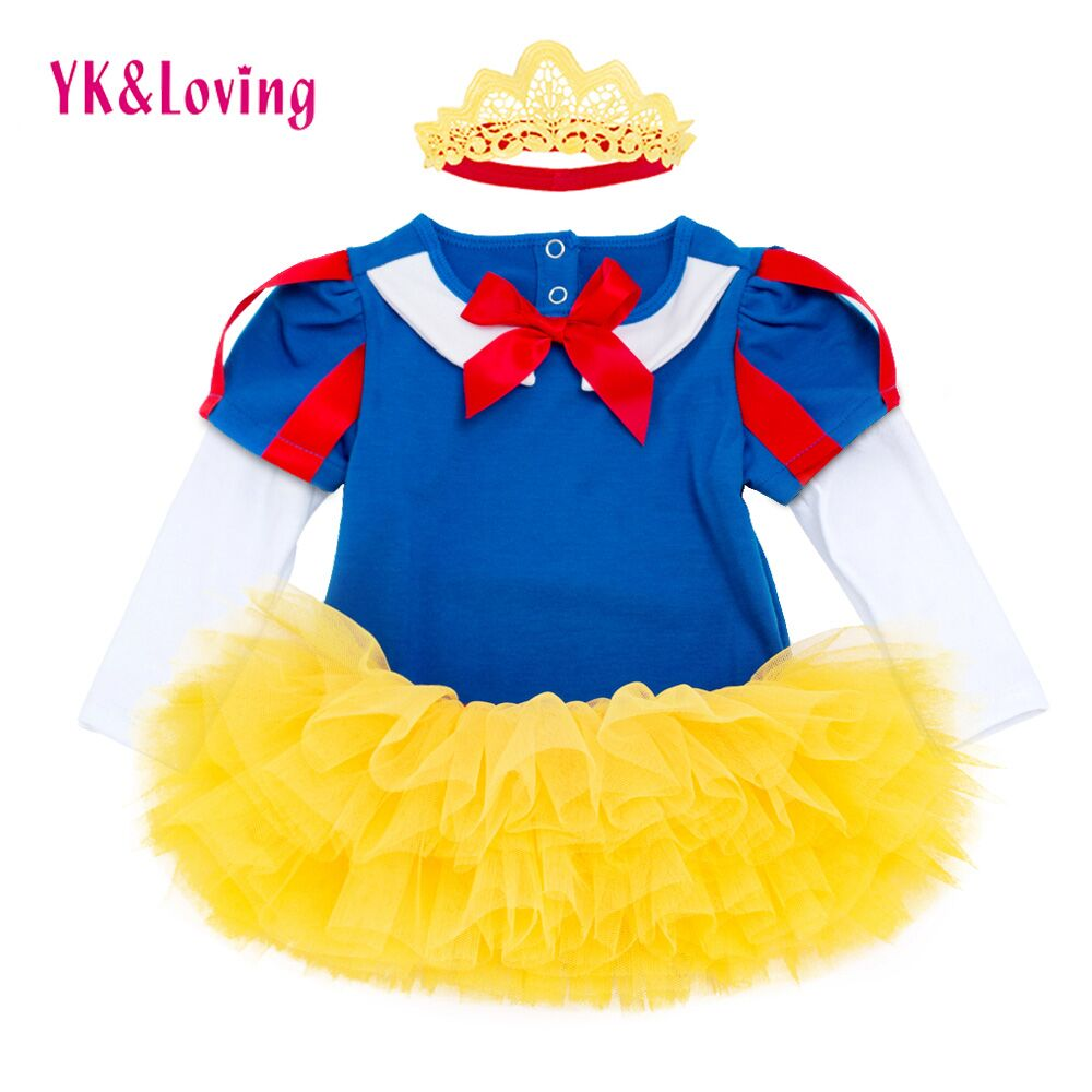 Snow White Girl Romper tutu Dress Princess Cosplay Baby Clothing Sets Kids Girls Dresses Party Infant/Toddler Costume Clothes baby toddler girl clothing kids girls clothes long sleeve princess set tutu dress pants autumn winter sets 1 2 3 4 years old 32