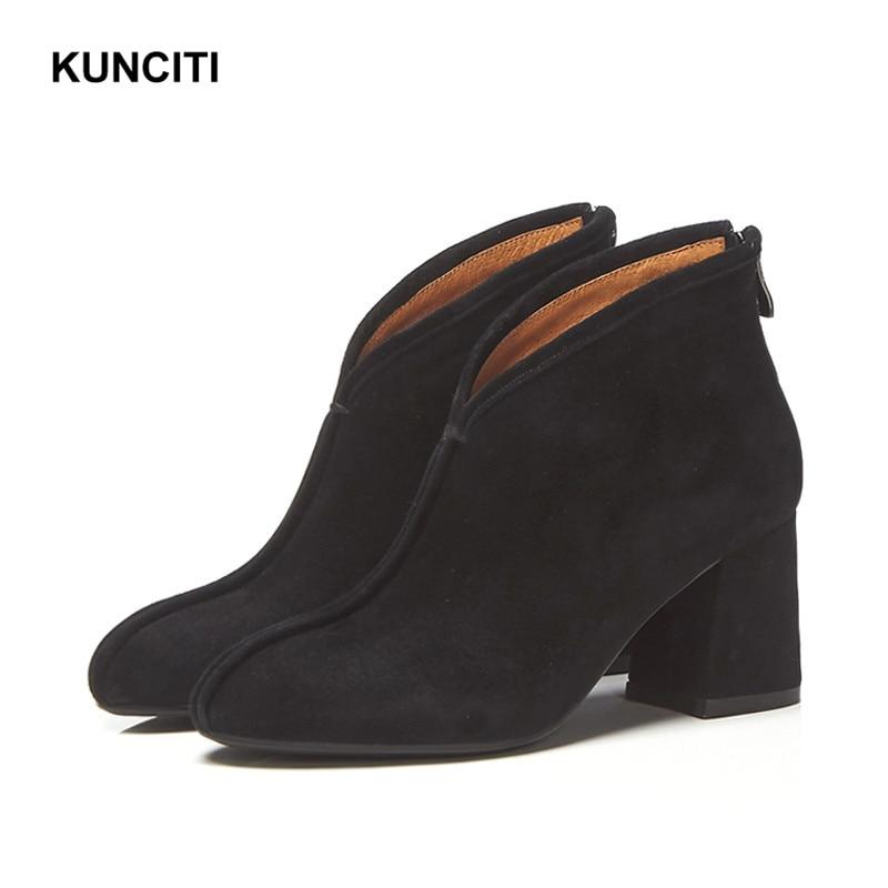 Black Kunciti Chaussures Rond Automne Femmes Vintage Weatern Bottes brown Bout D117 Rétro 2018 Cheville gray Cowboy Court Suede bgfYy67