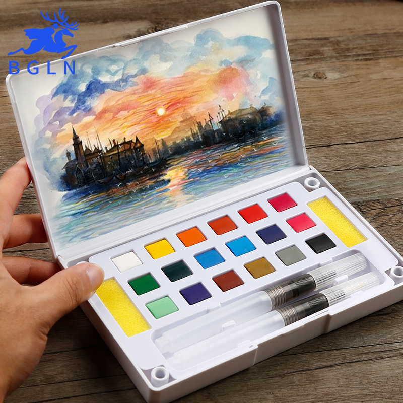 BGLN 18/24/36Colors Solid Watercolor Painting Set Box With Water brush Bright Color Portable Watercolor Pigment Set Art Supplies bgln 24 36 48colors solid watercolor painting set box with paintbrush bright color portable watercolor pigment set art supplies