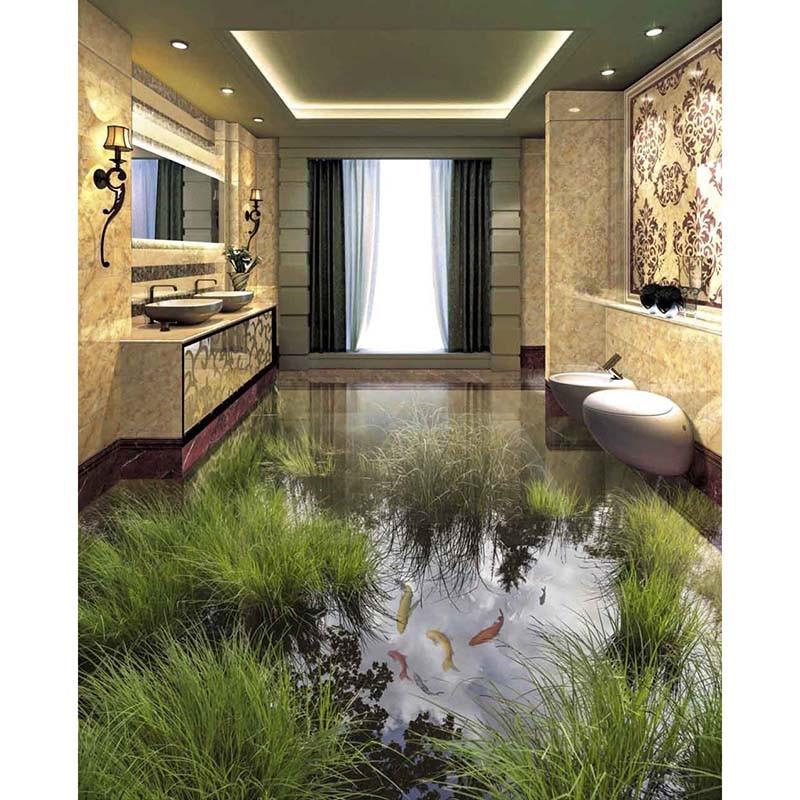 7 Small Bedroom Designs By Professional Experts: 3D Floor Sticker DIY Wallpaper Custom PVC Murals Bathroom