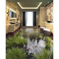 3d floor sticker diy behang custom pvc muurschilderingen badkamer beddengoed kamer zelfklevende vijver vis gras behang thuis decora #7