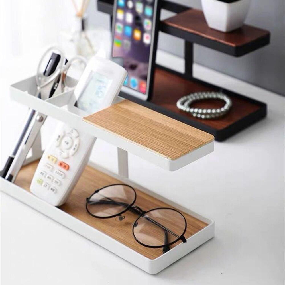 Wooden TV Remote Control Pen Phone Holder Stand Organizer Rack Case Box Storage