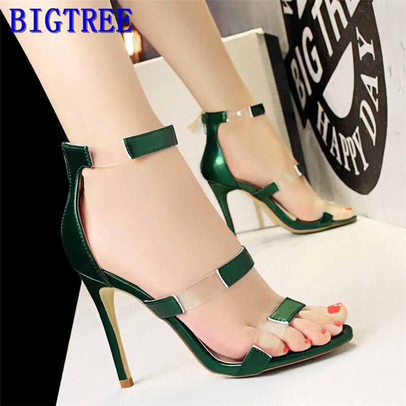 2019 Neue Frauen Sandalen Offene Spitze Sexy Transparent Pu Sandalen Mode Zurück Zipper High Heels Schuhe Cut-outs Sommer Sandalen Frau Up-To-Date-Styling