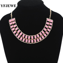YFJEWE Fashion Choke Necklace women Party Christmas Gift dress Accessories pink square women fashion necklace #N136