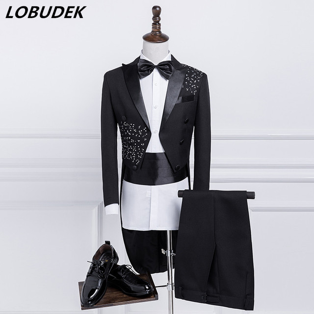 Tailing Men's Suit Formal Magician Swallowtail Performance Costume Host stage Wedding groom Studio Blazer Singer Chorus costumes