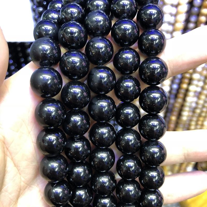 """Натуральный черный турмалиновый драгоценный камень Бусины, хрустальные бусины, круглые полудрагоценные драгоценные камни бусины, 4 6 8 10 12 мм, 1 нить 15,5"""""""