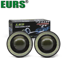 EURS(TM) 2PCS Projector Halo Rings 3200LM COB Fog Lamps Lens Angle Eyes Fog Lights Car Styling 10W high power 76mm free shipping