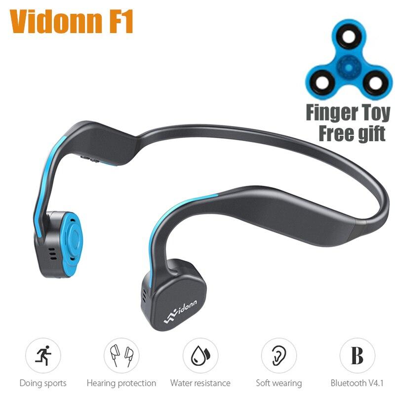 Vidonn F1 sin hilos de conducción ósea HiFi auriculares Bluetooth W/ruido Micrófono cancelación impermeable deporte banda para el cuello de auriculares