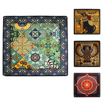 150cm Large Square Carpet for Living room,Ethnic Boho Geometry Pattern,Fashion Cat Design Home Decorator Non slip Rug Carpets