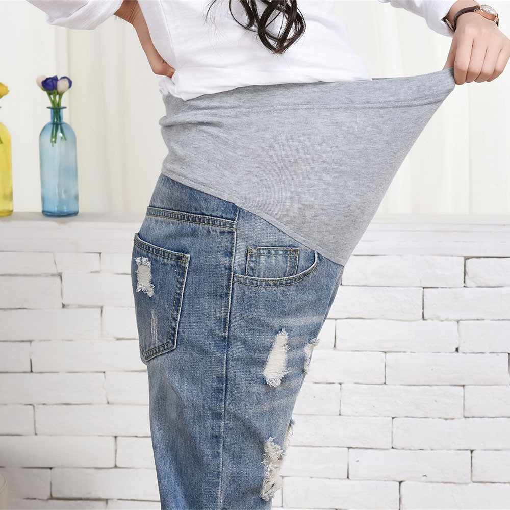 508accf9f0470 ... MUQGEW maternity clothes Pregnant Woman Ripped Jeans Maternity Pants  Trousers Nursing Prop Belly Legging vetement grossesse ...