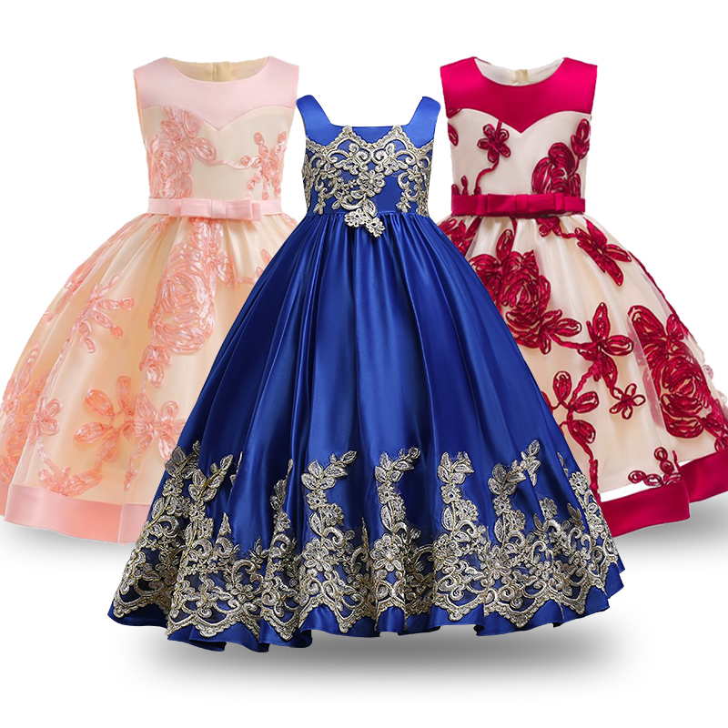 Summer Dresses 2018 New Girls Dress Girl Clothes long Vestidos Bridesmaid Children Dress Sleeveless Princess Dress for Girls