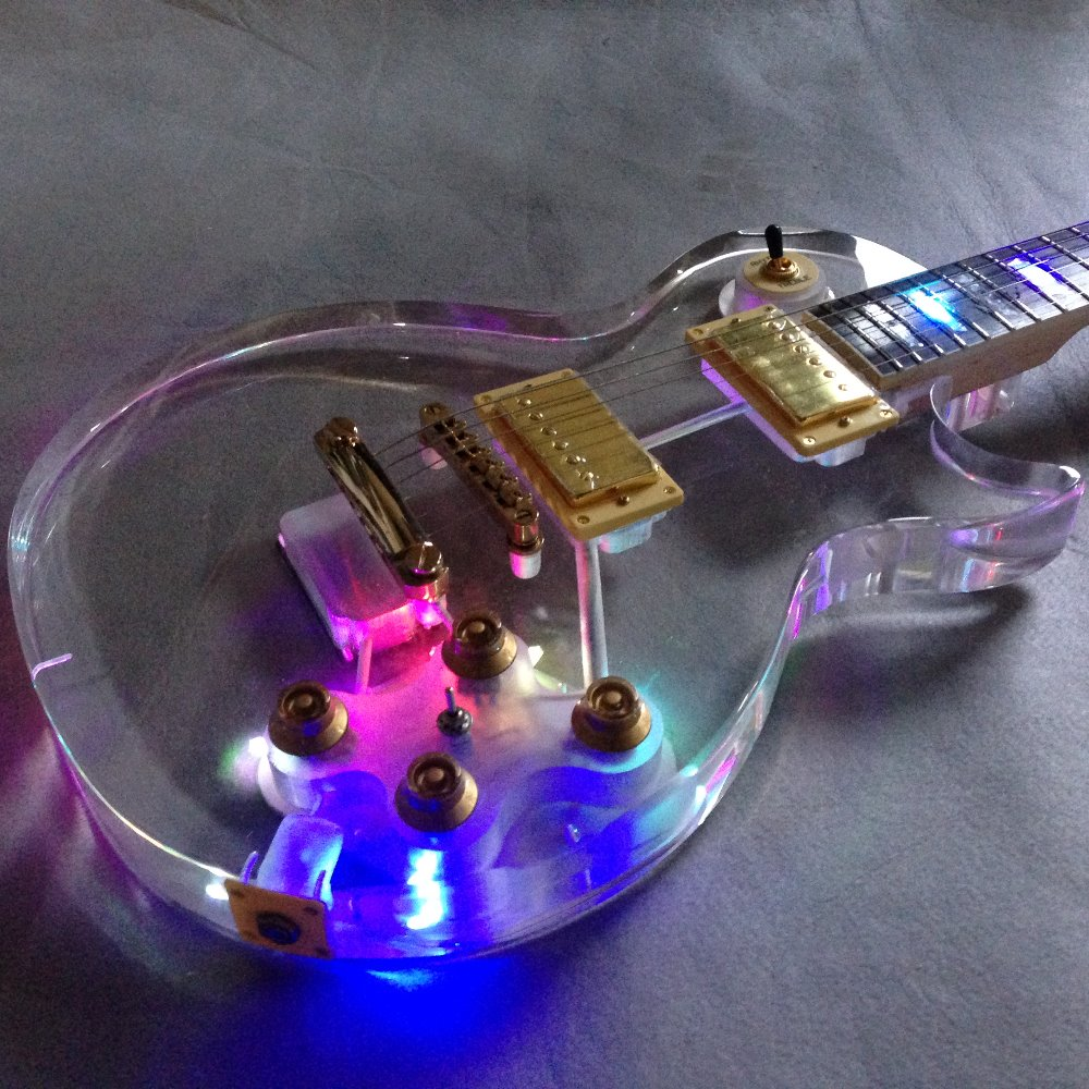 colorful led lights on acrylic crystal body maple neck electric guitar acrylic body guitar. Black Bedroom Furniture Sets. Home Design Ideas