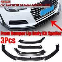 3PCS Carbon Fiber Look / Black Car Front Bumper Lip Body Kit Spoiler Splitter Diffuser Cover For Audi A4 B9 S4 Sedan 2017 2018