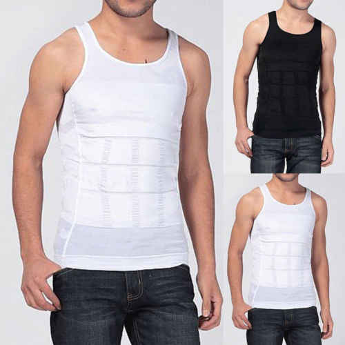 New Men Body Slimming Tummy Shaper Vest Belly Waist Solid O-Neck Fitness Sport Slim Male Tank Girdle Casual Shirt
