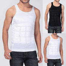 New Men Body Slimming Tummy Shaper Vest Belly Waist Solid O-Neck Fitness Sport Slim Male Tank Girdle Casual Shirt