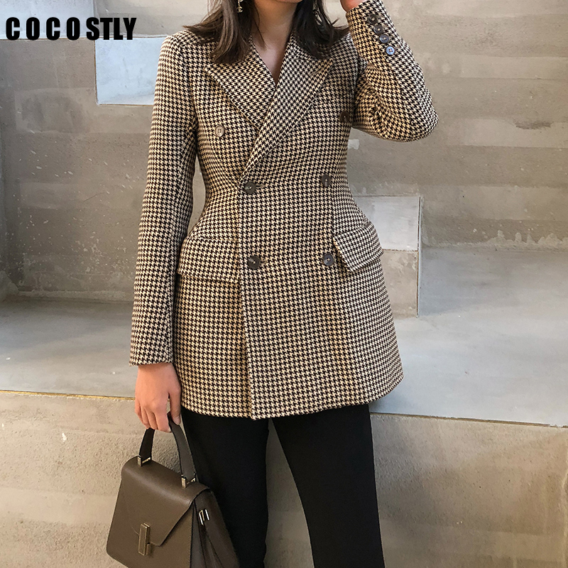 Spring Autumn Women Plaid Blazers And Jackets Work Office Lady Suit Slim Double Breasted Business Female Blazer Femme