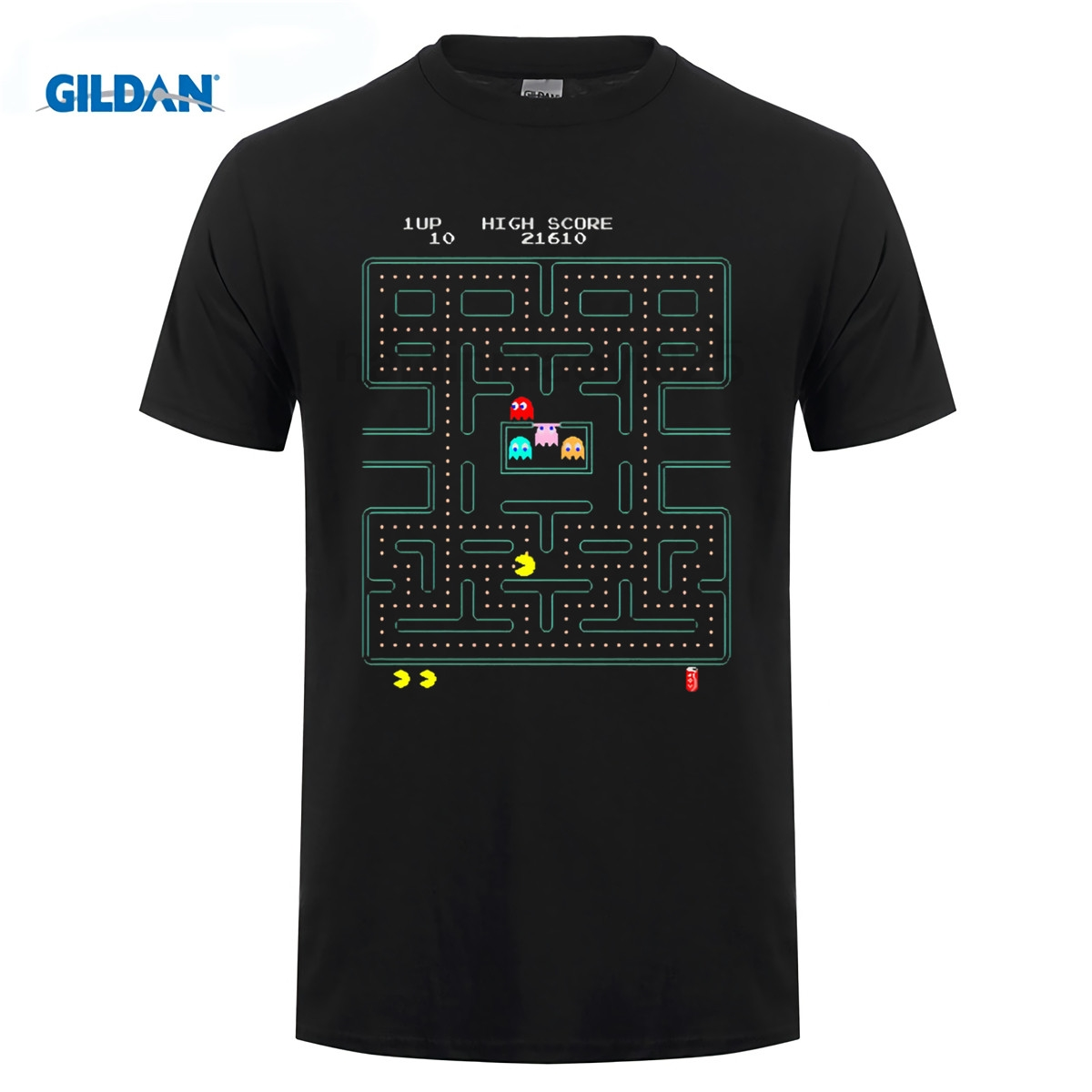 GILDAN Pac man T Shirt (2) Hop No Buckle Men Simple Shop Video game quality effect T-shirt ...