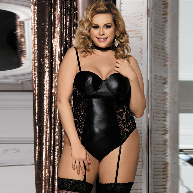 Faux leather mesh bra lingerie set