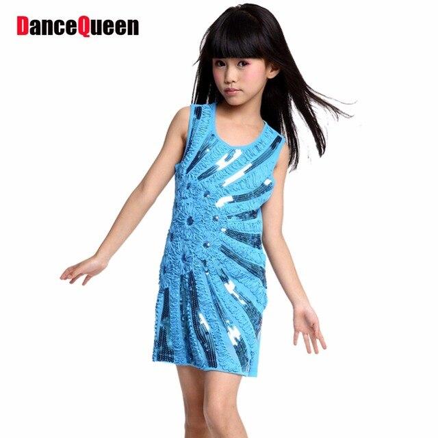 48f1f99fe Latin Dance Dress For Girls Sequins Embroidered Latin Salsa Dresses Blue/Red/Black/Rose  Kids Ballroom/Samba/Rumba Dance Clothing