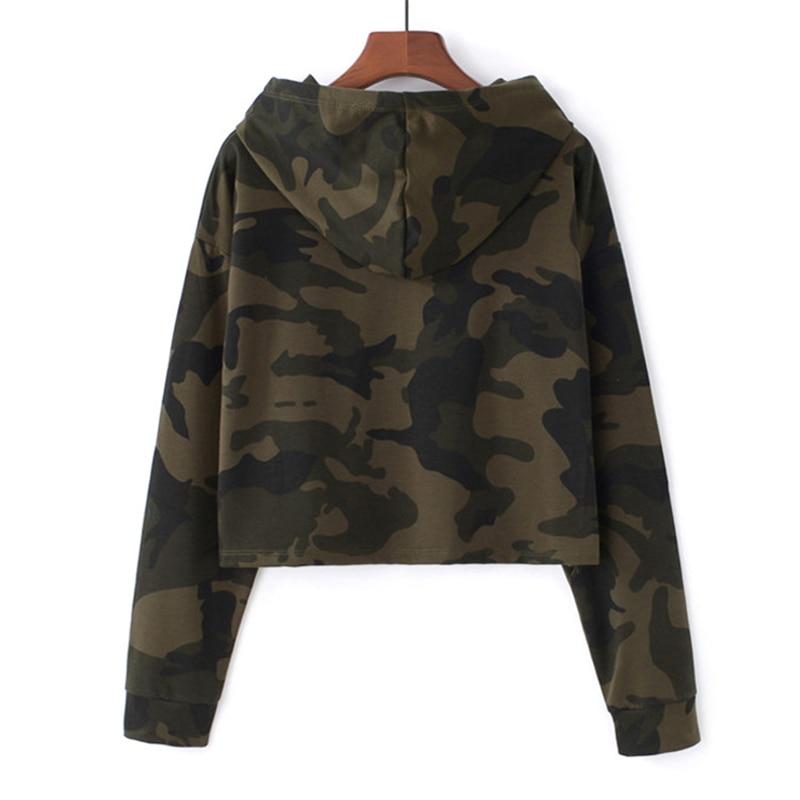 Image 4 - MERRY PRETTY Women Camouflage Printed Cropped Hoodies Sweatshirts Long Sleeve Tracksuit 2018 Autumn ArmyGreen Hooded PulloversHoodies & Sweatshirts   -