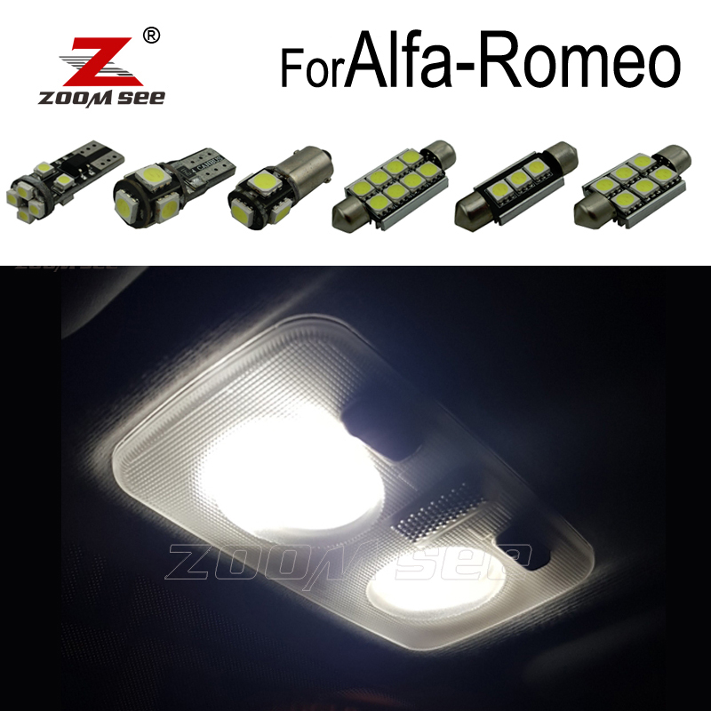 100% Perfect White Error Free LED interior bulb dome map light Kit for Alfa Romeo Giulietta Mito Brera GT Spider 147 156 159 166