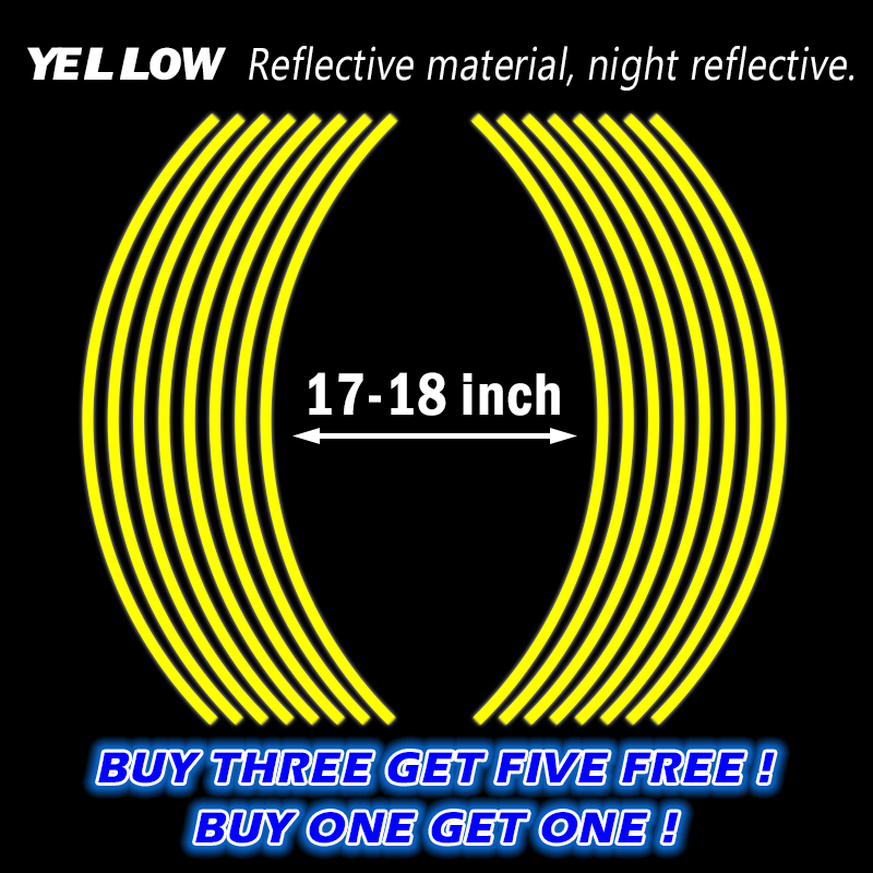 Buy One Get One Motorcycle Styling New Wheel Hub Rim Stripe Reflective Decal Stickers Safety Reflector For YAMAHA HONDA KAWASAKI