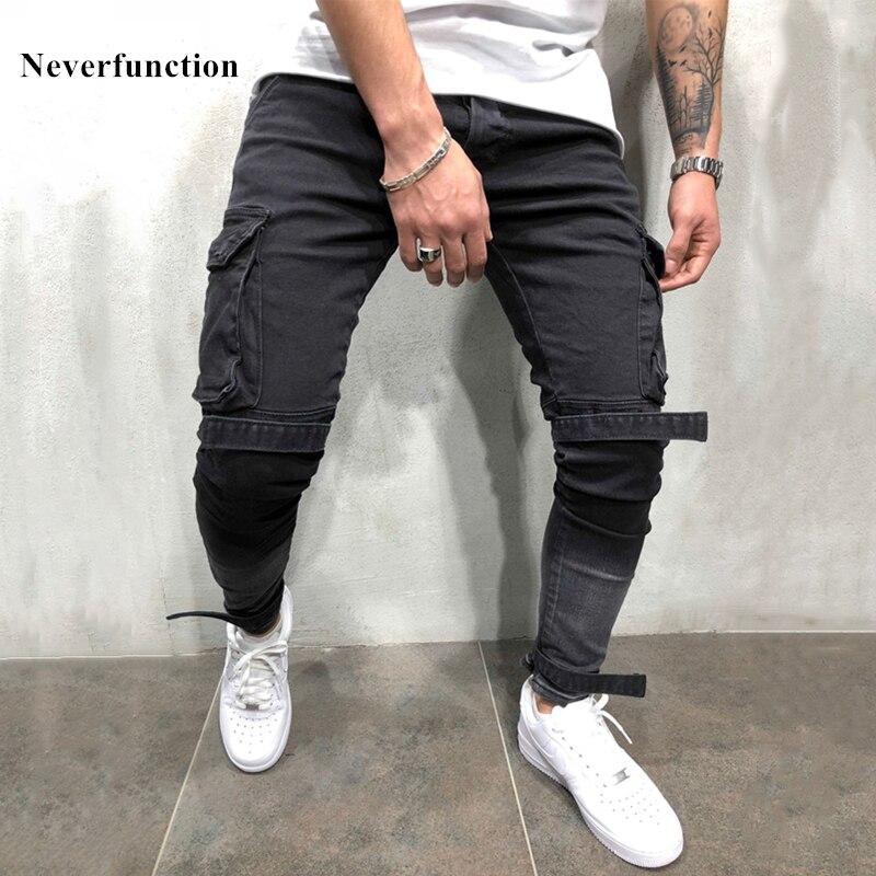 Streetwear Hip hop Swag Man Multi-pocket Bandage Cargo Skinny Biker   Jeans   Distressed Motorcycle for Men Slim Joggers Denim Pants