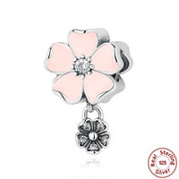 Real 100 925 Sterling Silver Poetic Pink Blooms Pendant Charm Beads Fit Original Pandora Bracelet Authentic