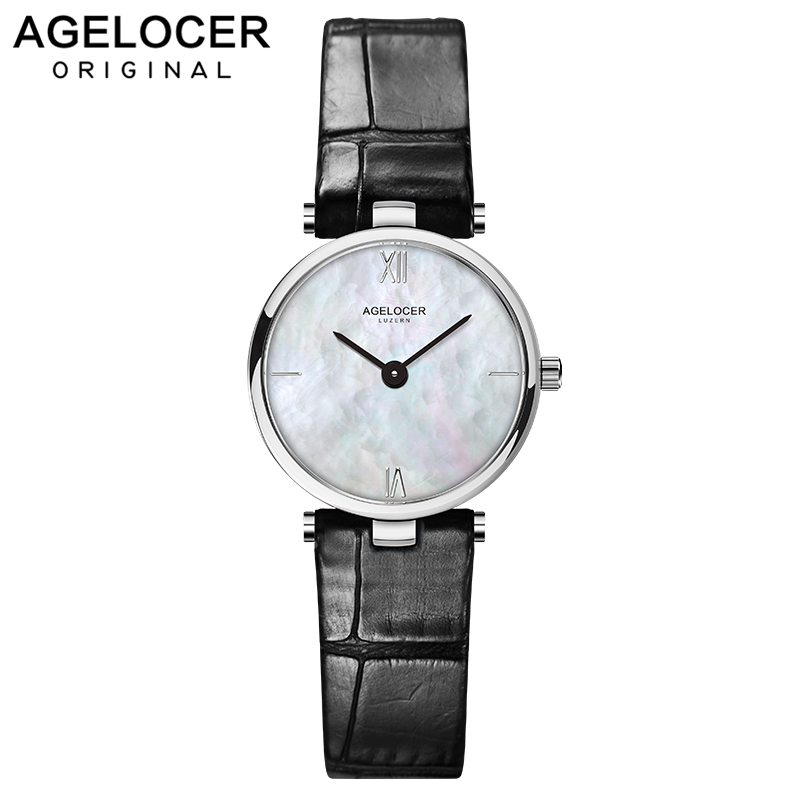 Швейцарский модный бренд AGELOCER платье золото кварцевые часы для женщин женские кожаный ремешок для женщин наручные Relogio Feminino Роскошные